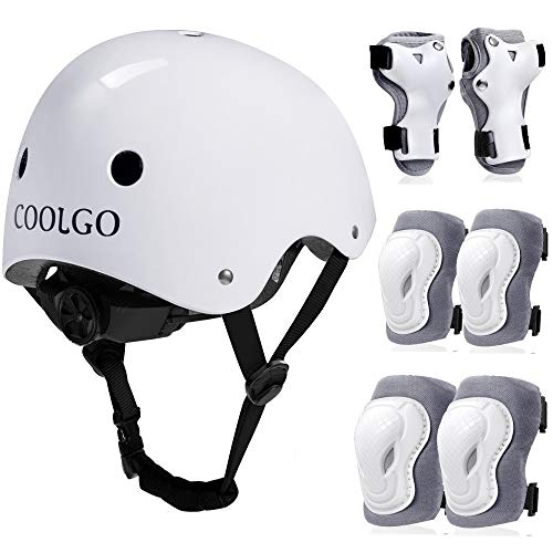 COOLGO Kinder Helm Inliner Protektoren Set, Skateboard Helm mit Schutzausrüstung Knie-Ellbogen-Handgelenk Schoner Set für Inliner Skaten Roller Skateboard Geeignet für Kinder 15-35 kg (Weiß) (White)