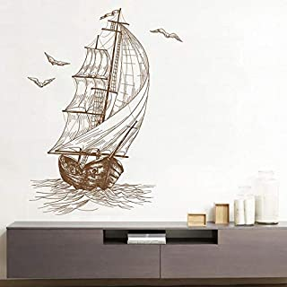Sailboat Wall Stickers Art - Sketch Sailboat Living Room Video Wall Decoration Bedroom Children Room Wall Stickers