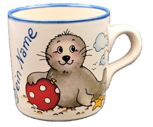 Namenstasse Seehund Ball / Tasse mit Namen Robbe / Carstens Keramik