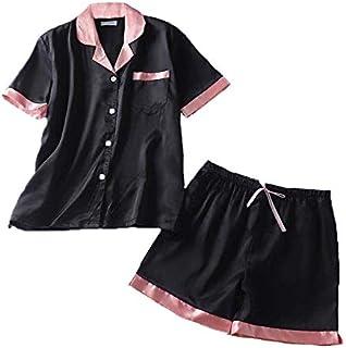 ゆめパジャマ シルク半袖 レディース ルームウェア 部屋着 光沢 心地よい肌ざわり 静電気防止 敏感肌 美肌 エレガント 上下セット ピンク ブラック Lサイズ XLサイズ
