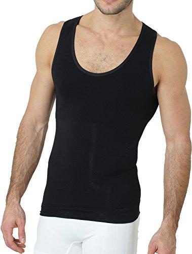 UnsichtBra Shapewear Unterhemd Herren   Body Shaper Funktionsshirt Herren   Bauchweg Kompressionsshirt Herren Weiss o. schwarz (sw_7100)(L, Schwarz)