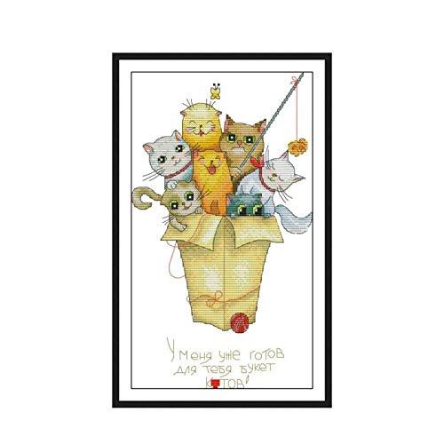 Kit de punto de cruz de gatito lindo con foto de gato patrón contado bordado chino bordado decoración de costura para regalo de casa-Red_11CT_Printed_cloth