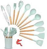 Songway Silikon-Kochutensilien-Set, 12-teilig, Küchenhelfer-Set mit Holzgriff, hitzebeständiger Pfannenwender, Zange, Spatel, Löffel, Küchenutensilien, mit gratis Anti-Verschütten Werkzeug