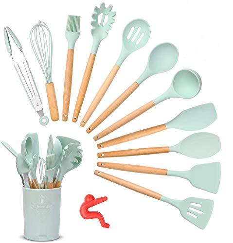 Songway 12 PCS Kit d'Ustensiles de Cuisine en Silicone et Bois avec Pot de Rangement, Set d'ustensiles de Cuisine en Silicone