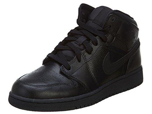 Nike Nike Air Jordan 1 MID BG Fitnessschuhe, Schwarz/Schwarz/Schwarz, 38 EU