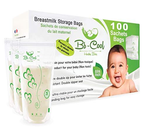 Bolsas de almacenamiento para conservar y congelar leche materna, 100 Contenedores de leche preesterilizadas a prueba de fugas LIBRE de BPA de BB-COOL capacidad 210ml