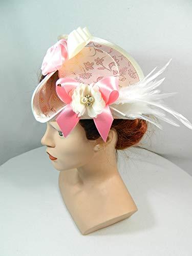 Mini Dreispitz rosa Brokat Marie Antoinette Barock Rokoko Western Headpiece Haarschmuck