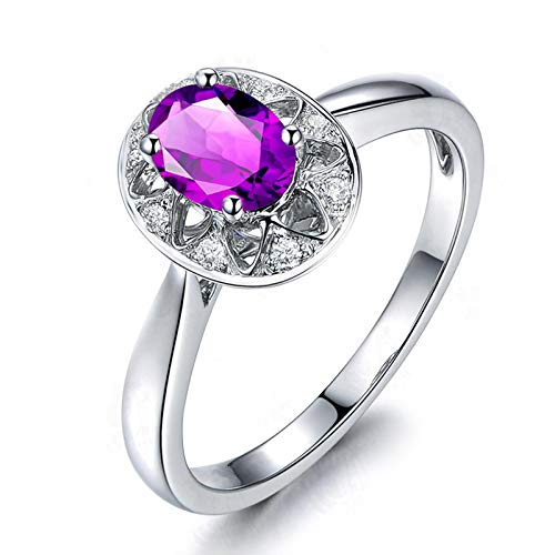 Adokiss Jewellery Women Ring Silver 925, 6 Claw Oval Purple Cubic Zirconia Hollow Star Design Anniversary Band for Her, Silver, Size M 1/2,Birthday Gift for Her