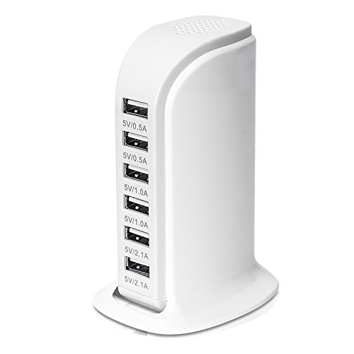 LYILIN 30W 6-Port USB Charger Desktop Charging Station with Smart Identification Technology for iPhone iPad Android and Virtually All Other USB Enabled Devices (White)