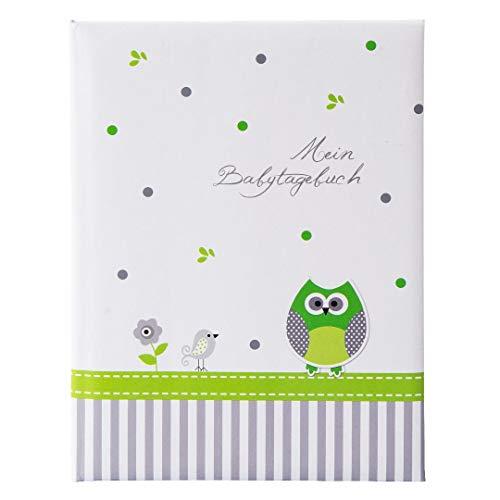 Goldbuch Babytagebuch, Babyworld Eule, 21 x 28 cm, 44 illustrierte Seiten, Kunstdruck laminiert, Weiß/Grün, 11330