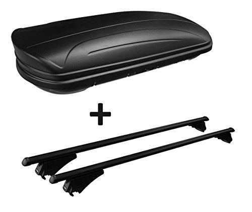 VDP Dachbox schwarz matt MAA320M günstiger Auto Dachkoffer 320 Liter abschließbar + Alu-Relingträger Dachgepäckträger aufliegende Reling im Set kompatibel mit Opel Mokka ab 2012