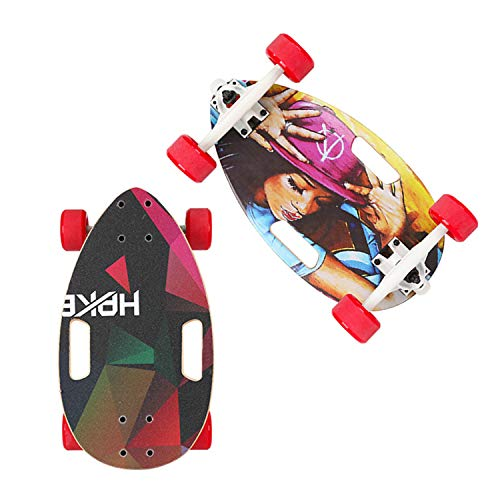 FsoZms 17 inch Volledig Lichtgewicht Skateboard Drift Series, Mini esdoorn Breed en Stabiel Surf Deck, Skateboard voor beginners en stad pendelaars, niet-elektrische eierplank