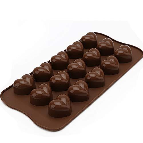Stampi per cioccolatini, stampo a forma di cuore in silicone, 15 stampi per cuori a forma di cuore Stampi al cioccolato caramelle, vassoio per cubetti di ghiaccio,senza BPA e PVC, confezione da 2