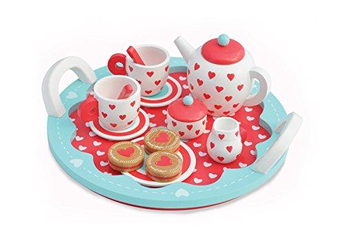 Indigo Jamm Tea Set Hölzernes Teeservice für gemütliche Teerunden mit 10 Geschirrstücken und 3 hölzernen Keksen – Herzen