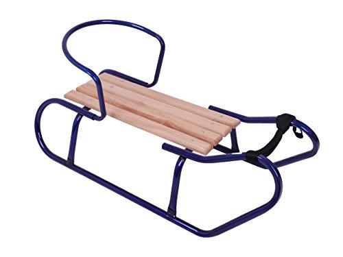 Holzschlitten Metallschlitten Kinderschlitten aus Buchenholz Metall Rückenlehne inkl. Zugseil Schlitten Lehne Schieber Metallkufen