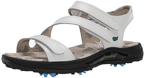 Greenleaf Women's Golf Sandal Shoe, White, 8 M US
