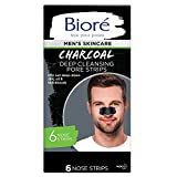 Bior Men's Skincare Charcoal Deep Cleansing Pore Nose Strips, 6 Count