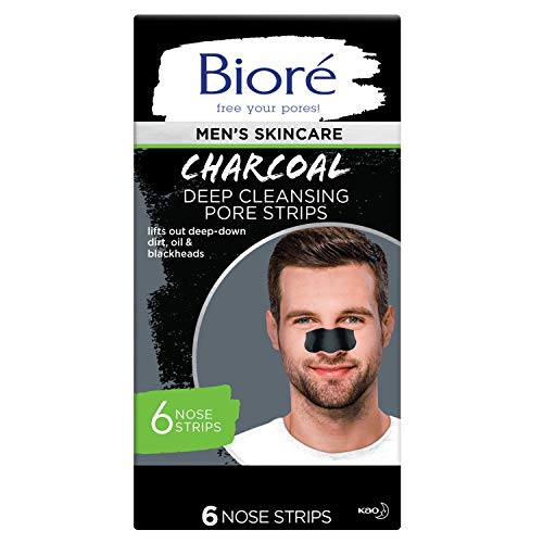 Bioré Men's Skincare Charcoal Deep Cleansing Pore Strips, Nose Strips for Blackhead Removal on Oily Skin, with Natural Charcoal for Instant Blackhead Removal and Pore Unclogging, 6 Count