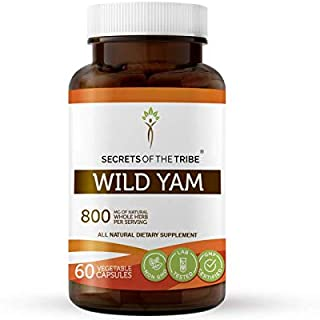 Secrets Of The Tribe Wild Yam Capsules 800 mg Responsibly farmed Organic Wild Yam (Dioscorea Villosa) Dried Root, Hormone ...