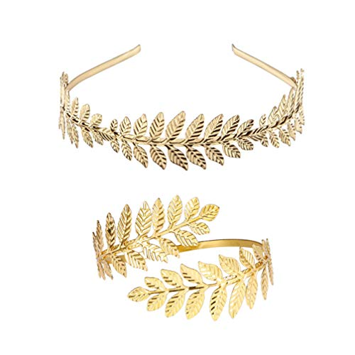 Minkissy set di gioielli da sposa con bracciale a fascia per capelli greci corona romana ramo foglia fascia da braccio dorata per ballo di fine anno 2 pezzi