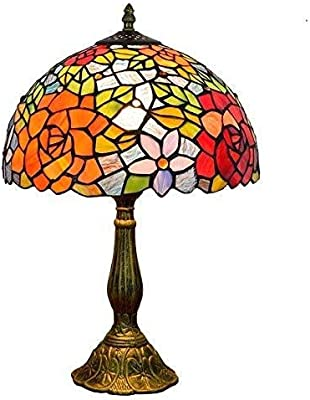 """QGL-HQ Tiffany Lampe de Table Rose Creative Vitrail Chambre décorée Individuellement à l'intérieur de la Lampe de Chevet Table (12""""Wide 19"""" Hauteur) de Style Tiffany"""