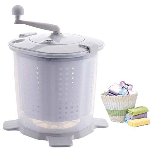 YDCW Mini Hand Crank Washing Machine Dehydrator,2020 Latest Mini Small Semi-Automatic Washer,Compact Spin Dryer, Portable Manual Non-Electric,Suitable for Camping Dormitory,Grey