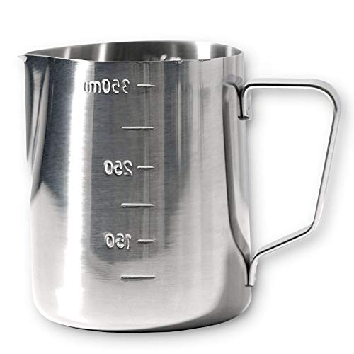 MAVO Milk Frothing Pitcher Milk Frother Cup 12oz - Measurements on Both Sides - Perfect for Latte Art, Espresso Machines, Cappuccino - 304 Food Grade Stainless Steel (12 Ounce)