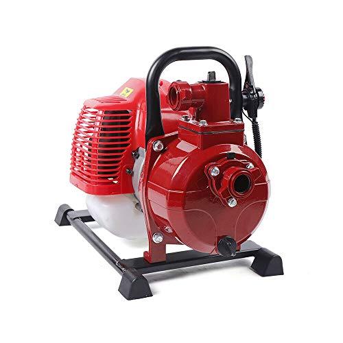 42,5CC 2-Takt Benzin Wasserpumpe Water Transfer Pump Teichpumpe Wassertransferpumpe Gartenpumpe Wasser 2PS Motorpumpe für Entwässerung, Bewässerung, Entwässerung und Teichpflege(10 m³ / h)