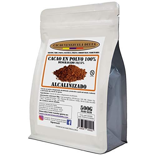 Cacao Venezuela Delta - Cacao en Polvo Puro 100% · Alcalinizado · Desgrasado 10-12% · 500g