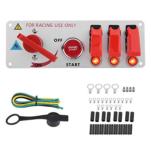 Panel del interruptor de encendido, Fydun 12V Racing Car Panel del interruptor de encendido Motor de arranque LED Botón pulsador Panel de alternancia