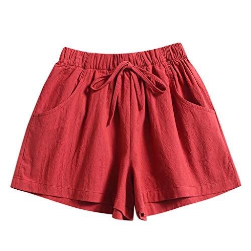 Andouy Damen Einfarbig Yogahose Pyjama Shorts Kurze Badeshorts mit Elastischen Bund und Taschen(XL.Rot)