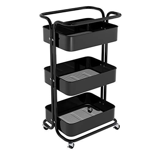 Homfa Küchenwagen Servierwagen mit Rollen Allzweckwagen für Küche Bad Büro 3 Etagen mit 3 Körbe schwarz 43 x 34 x 82cm