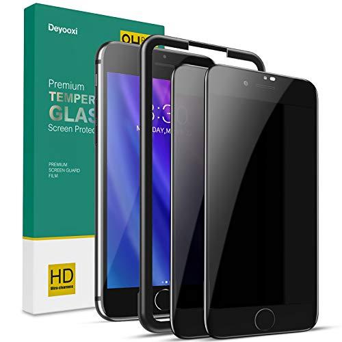 Deyooxi 2 Stück Panzerglas Sichtschutz für iPhone 7/iPhone 8/SE 2020,3D Full Screen Glas Blickschutzfolie mit Positionierhilfe,Privacy Panzerglasfolie Schutzfolie,Anti-Spy Displayschutz Folie,Schwarz