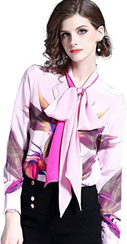 Women's Paisley Print Tie Neck Shirt Regular Fit Long Sleeve Blouse Tops Purple