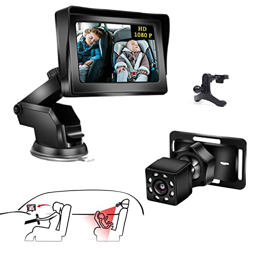 Gootus 1080P Baby Car Mirror   Baby Car Camera Monitor with 4.3' HD Display Night Vision   Baby Car Mirror for Back Seat Rear Facing Full View,Durable Sucker Bracket,Car Back Seat Camera for Newborn