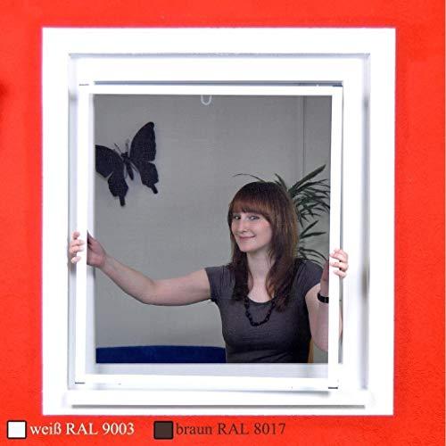 Premium Slim Fliegengitter für Fenster als Alubausatz mit Fiberglasgewebe - Profi Insektenschutz - 80 cm x 100 cm | weißer Rahmen