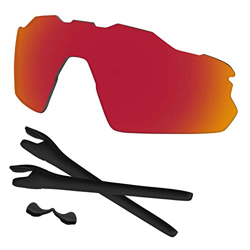 Predrox Red Mirror Radar EV Pitch Lenses & Rubber Kits Replacement for Oakley Sunglass OO9211 Polarized