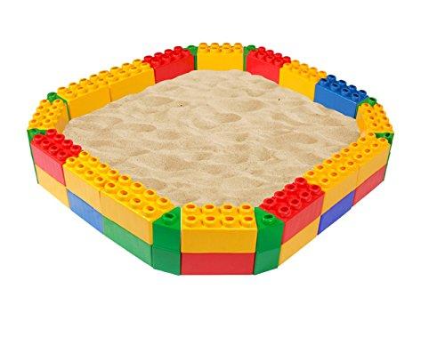Kuit zandbak met bouwstenen