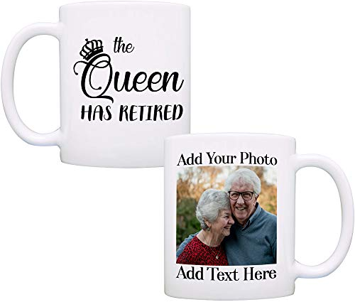 Personalized Retirement Gifts for Women and Men, Party Decorations Ideas Gift for Retired, Custom Photo Coffee Mug, 11 oz - Queen Has Retired