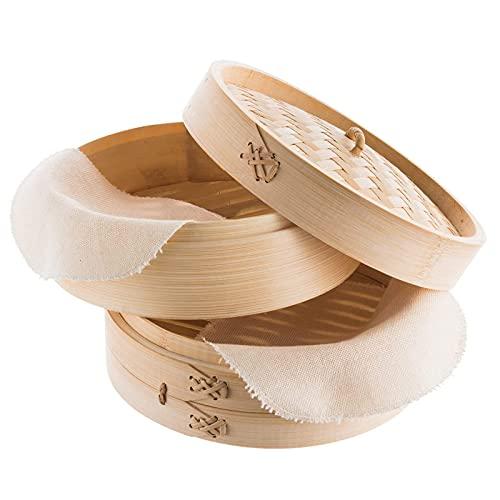 LTLWSH Vaporizador de Alimentos - 9 Tamaños 2 Niveles Canasta de Vapor de bambú Cocina de arroz Natural Chino Cocina de Alimentos con Tapa...