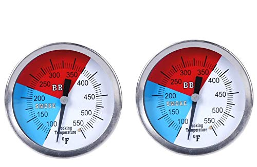 """GasSaf 3"""" Charcoal Grill Pit Smoker Temp Gauge Grill Thermometer Gauge with Fahrenheit and Heat Indicator, Larger Face with 3"""" Stainless Steel Stem, Easy to Read Temperature(100-550F)(2-Pack)"""