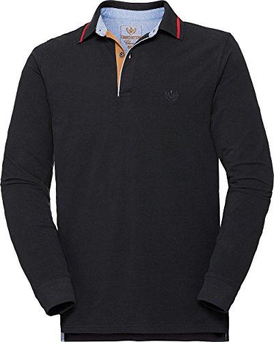 Franco Bettoni Herren Polohemd in Schwarz Poloshirt für Männer, sportlich-Elegantes Langarm-Shirt mit V-Ausschnitt & Kragen, Herrenpullover, Gr. 48-60