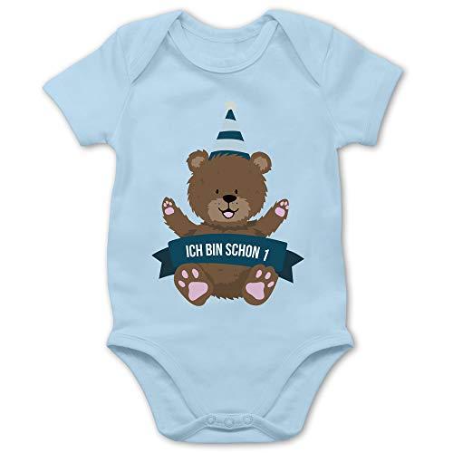 Shirtracer Baby Geburtstag Geburtstagsgeschenk - Ich Bin Schon 1 Bär - 6/12 Monate - Babyblau - Body Kurzarm mädchen - BZ10 - Baby Body Kurzarm für Jungen und Mädchen