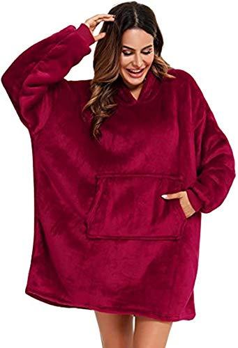 BeKing Huggle Hoodie - Ultra Plush Couverture Sweat à Capuche Hiver Chaud Peignoir Réversible Sweatshirt Unisexe [Taille Unique] pour Accueil/Bureau/Faire des Courses/Camping (Rouge)