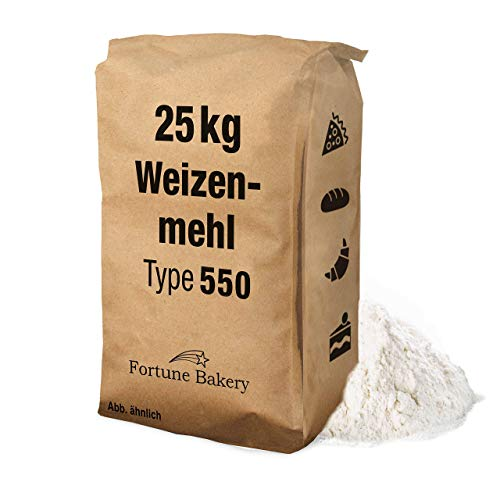 25 kg Mehl Weizenmehl – Typ 550 – Universal Mehl für Back- und Teigwaren Soßenbinder