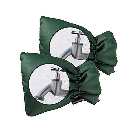 Zueyen 2 fundas protectoras para grifos que protegen tu grifo exterior, cubierta gruesa para grifos al aire libre contra la congelación impermeable térmica – verde