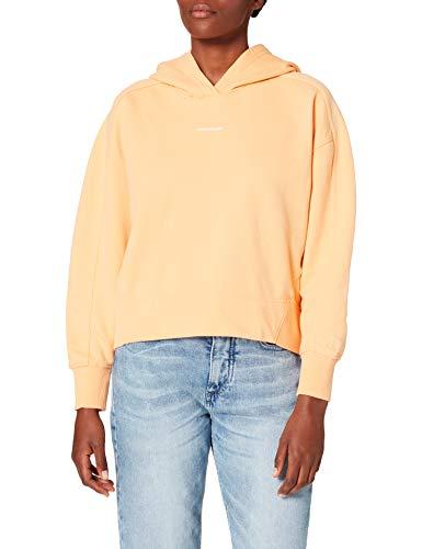 Calvin Klein Jeans Micro Branding Hoodie Suter, Naranja triturado, S para Mujer