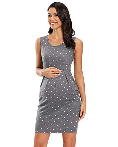 Love2Mi Vestido de mujer sin mangas para embarazadas, elegante, para el tiempo libre, para embarazadas, para verano, para embarazadas Gray Flowers 45 M