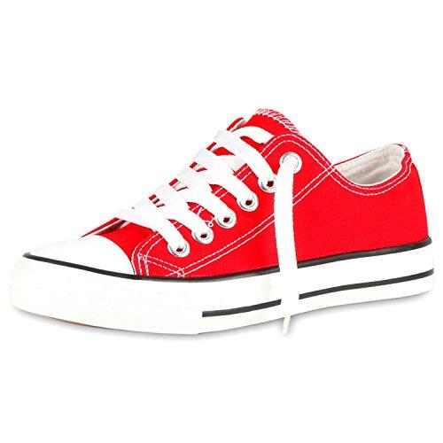 SCARPE VITA Modische Damen Sneakers Low Canvas Schuhe Turnschuhe Freizeit 117097 Rot 42