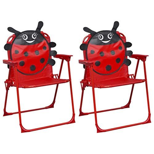 Festnight Sillas de Jardín para Niños Silla Plegable de Jardín Exterior 2 Unidades Tela Rojo 38 x 28 x 50 cm